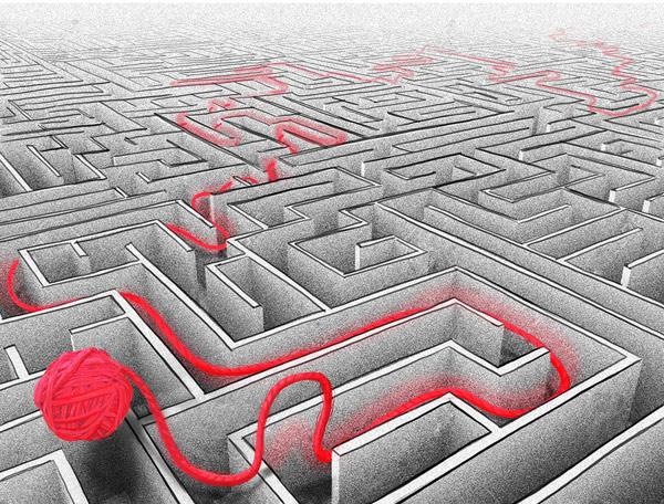 Labirinth mit Wegweiser - roter Faden